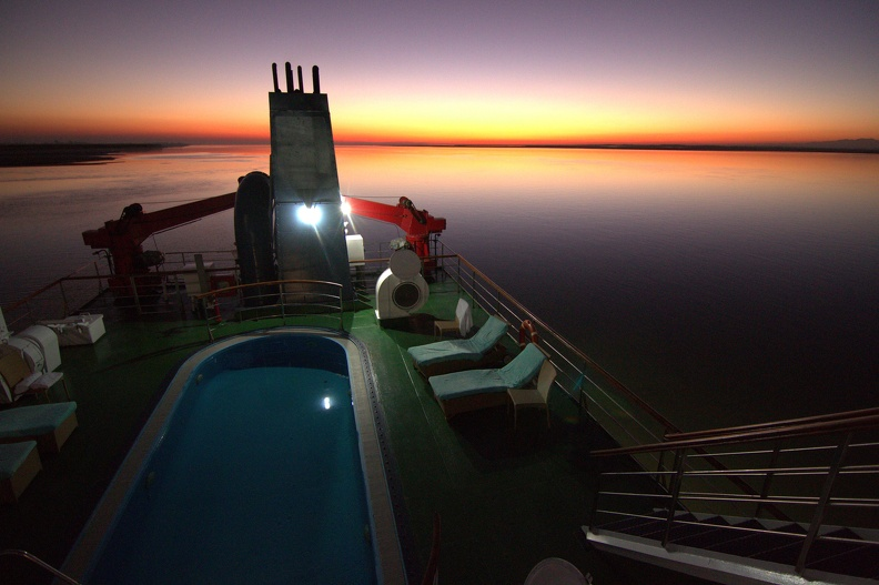 Sunset from the rooftop jacuzzi of the M.V Mahabaahu